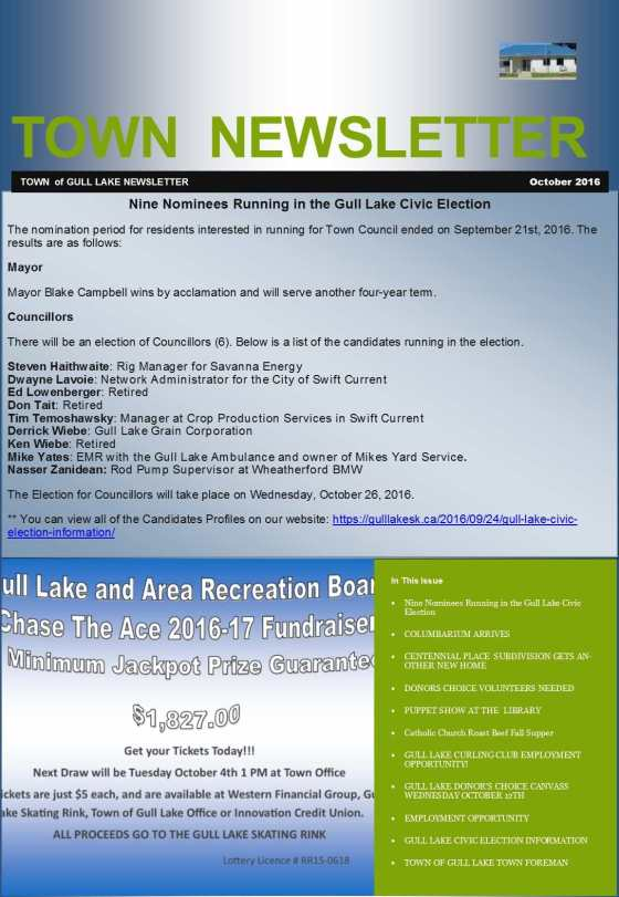 OCTOBER TOWN NEWSLETTER Government GULL LAKE  Town Council Newsletter Mayor's Report Jobs Gull Lake Recreation Complex Cemetery