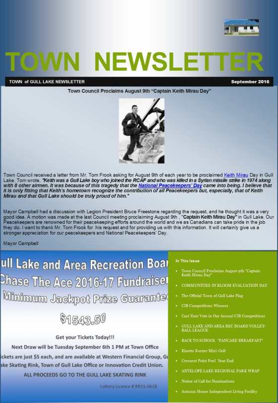 September Town Newsletter GULL LAKE Health & Wellness  Town Council Newsletter Mayor's Report Gull Lake School Gull Lake Recreation Complex Community