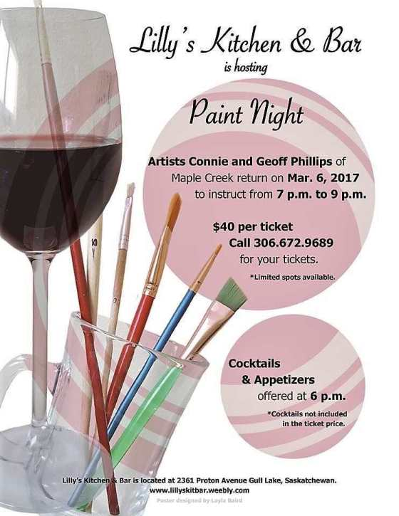 Lilly's Kitchen & Bar Hosts Paint Night Business GULL LAKE  LILLY'S KITCHEN AND BAR Events Community