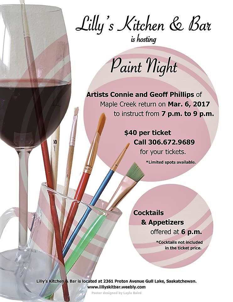 Lilly's Kitchen & Bar Hosts Paint Night Business GULL LAKE  LILLY'S KITCHEN AND BAR Events