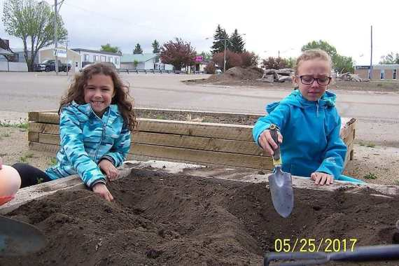 Grade 3 Class Plants Flowers at the Community Gardens GULL LAKE Town Beautification  Gull Lake School