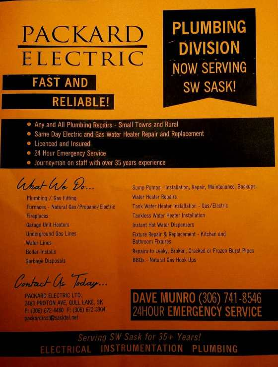 Packard Electric Plumbing Division Now Serving South West Saskatchewan Business GULL LAKE SouthWest Saskatchewan  Small Business Community