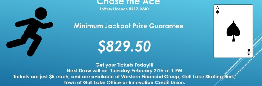 JANINE VAUGHAN WINS THIS WEEK'S CHASE THE ACE DRAW GULL LAKE  Gull Lake Recreation Complex