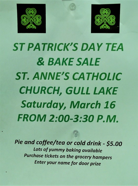 St Patrick's Day Tea and Bake Sale GULL LAKE  St Annes Roman Catholic Church Community