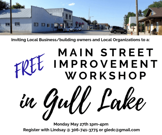 Main Street Improvement Workshop! Business GULL LAKE Town Beautification  Small Business