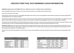 Swimming Lesson Info