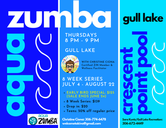 AquaZumba is coming to Crescent Point Pool! GULL LAKE Health & Wellness  Crescent Point Pool