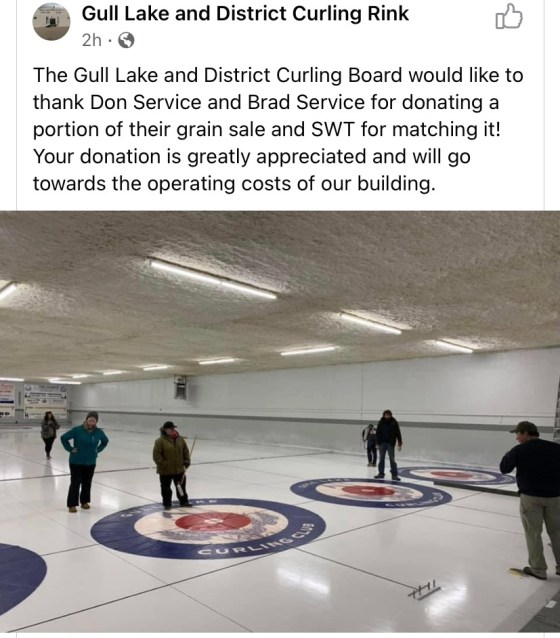 Brad and Don Service along with SWT donate to the Gull Lake District Curling Board Agriculture Business GULL LAKE SouthWest Saskatchewan  Saskatchewan Gull Lake Curling Rink Events Community