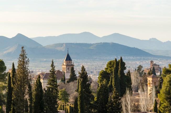 Utsikt över Alhambra och Generalife