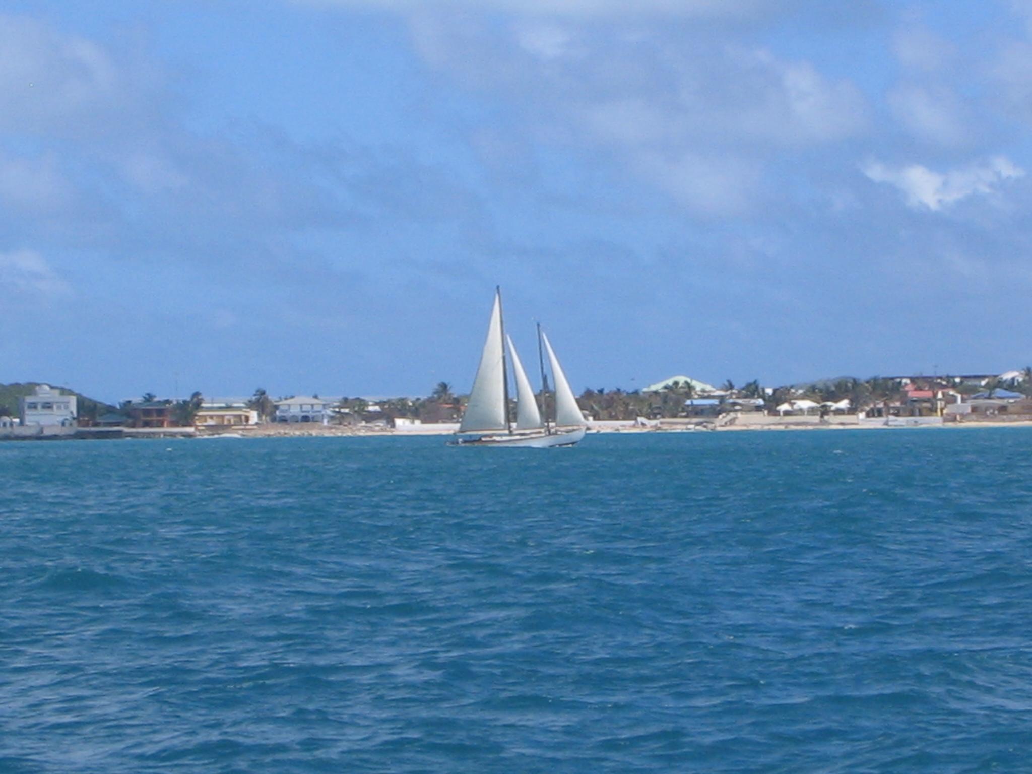 sailing along side a sloop