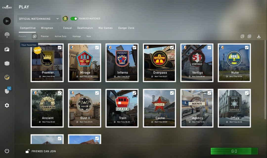 """<div class=""""paragraphs""""><p>Presets Added to CS:GO Competitive Matchmaking</p></div>"""