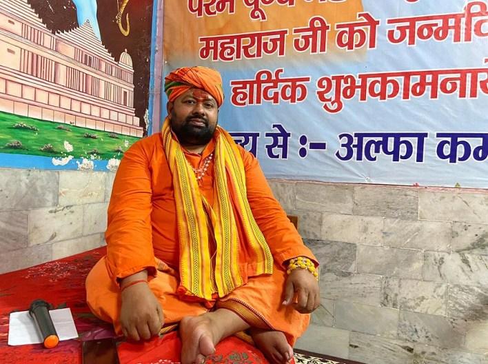 Brijmohan Das at his temple in Ayodhya.