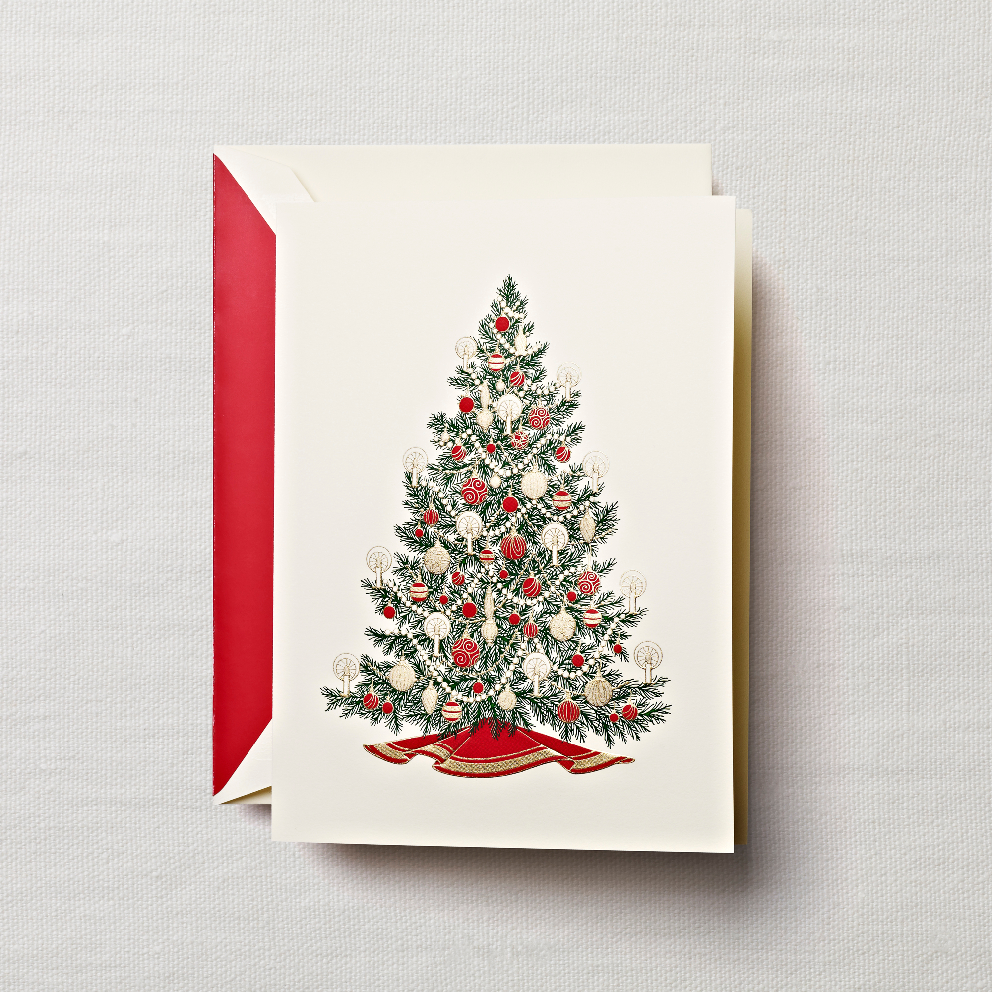 Crane Amp Co Engraved Christmas Tree Cards Set Of 10 Gumps