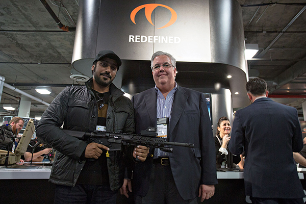Caracal CEO Hamad Al Ameri and Wilcox Industries CEO Jim Teetzel showcase first collaborative product at SHOT Show 2016: The CAR816-A2 rifle with Fusion System Kit