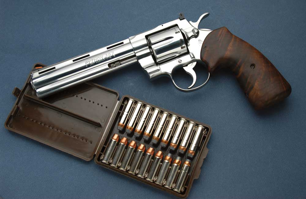 In 1955, Colt's Firearms introduced what many believe to be the most elegant .357 Magnum revolver ever created—the Python. This example is an Ultimate Python in stainless steel and has the best features found with any Python, plus the bonus of custom grips to make it one of the nicest .357 Magnum revolvers one can find.