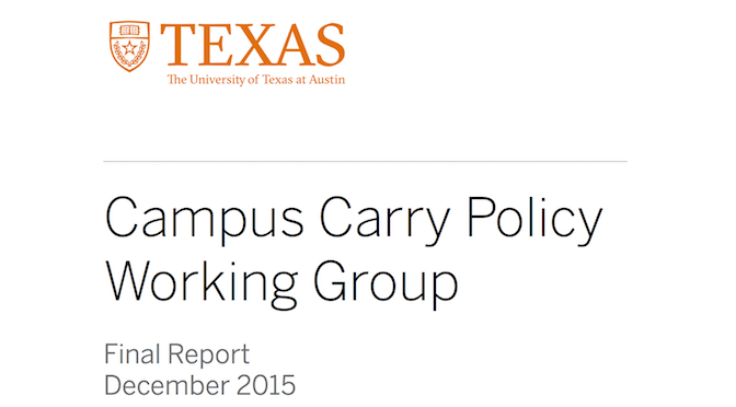 Responses to the report of the Campus Carry Working Group at UT Austin