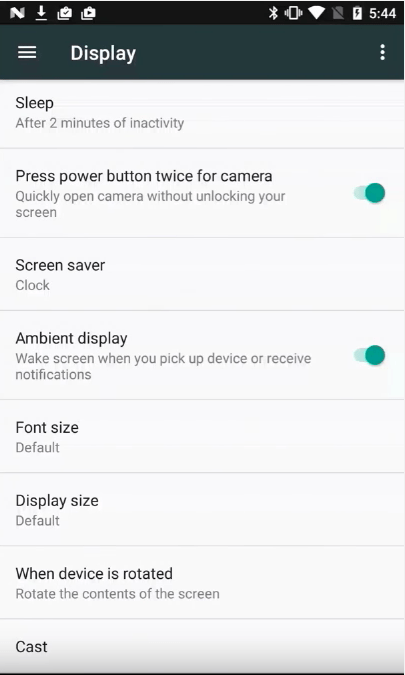 Display size - android n