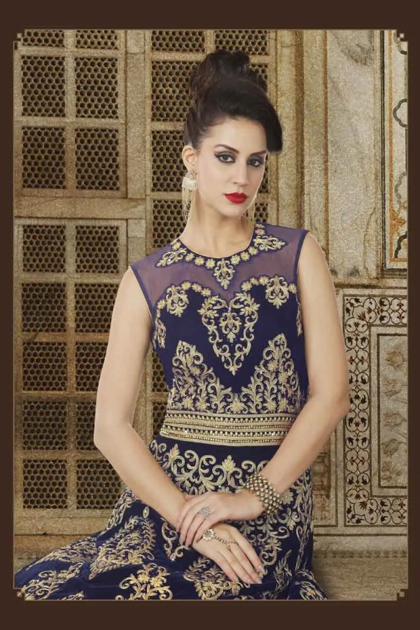 Navy Blue Color Micro Velvet Fabric Embroidered Floor Length Party Wear Anarkali Suit 5611 A