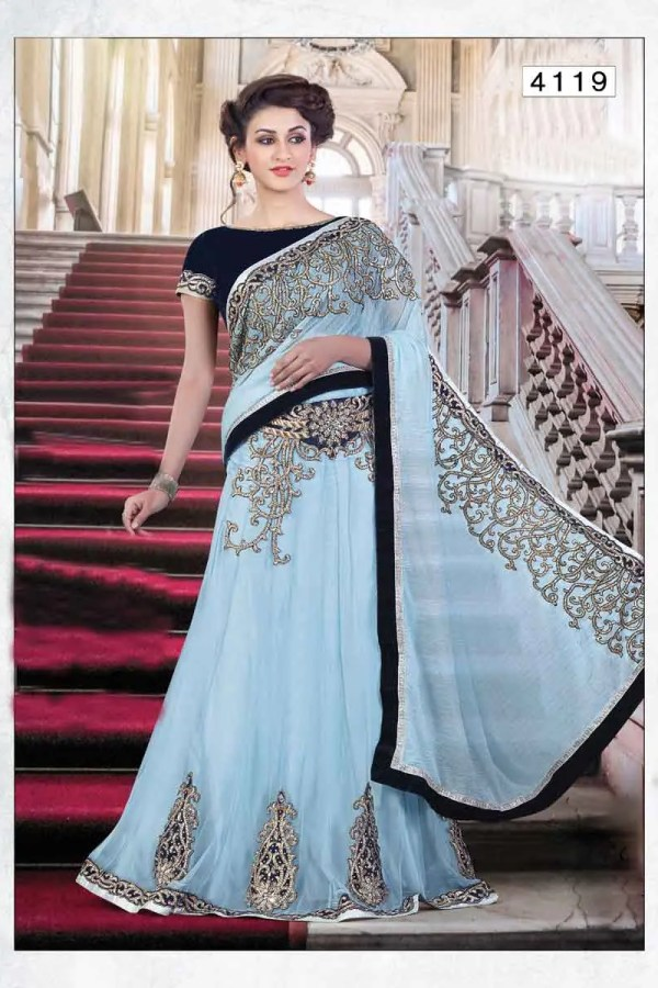 Exclusive Light Blue Color Embrodered Saree 4119