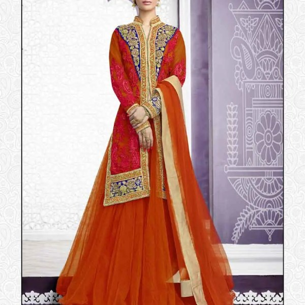 Stylish Orange Color Net Embrodered Lehenga Choli N-509