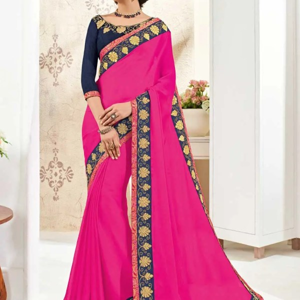Stylish Magenta Color Moss Chiffon Party Wear Saree 10275
