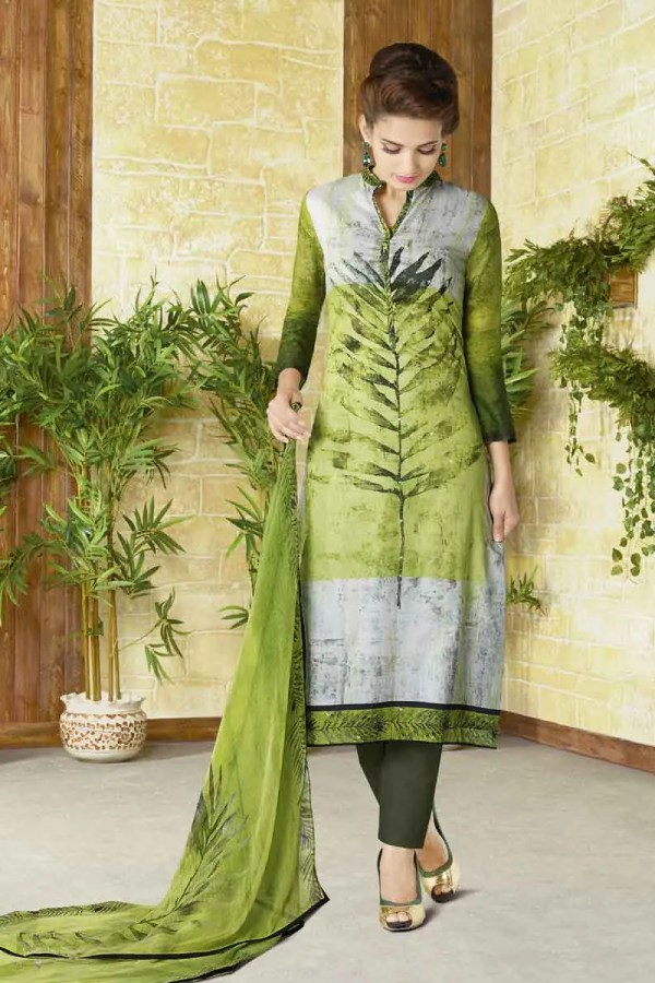 Regal Green Color Leaf Print Cotton Lawn Salwar Kameez 1503