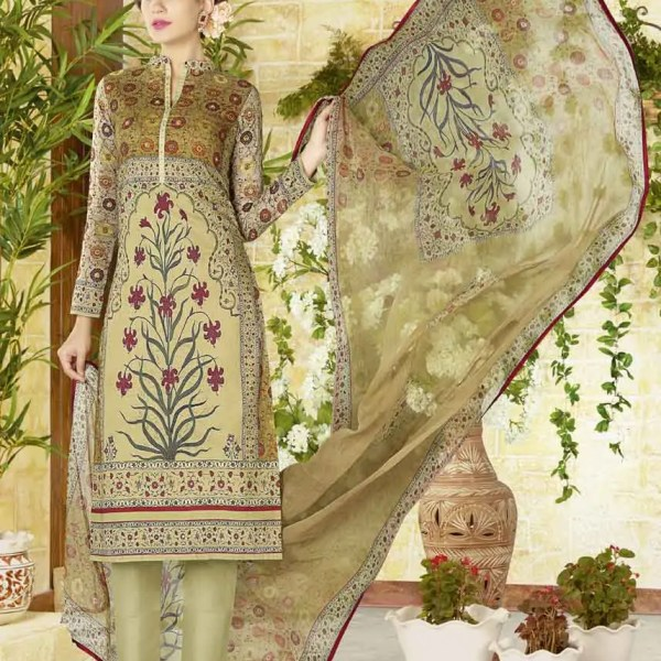 Outstanding Cream Color Cotton Lawn Daily Wear Salwar Kameez 1510
