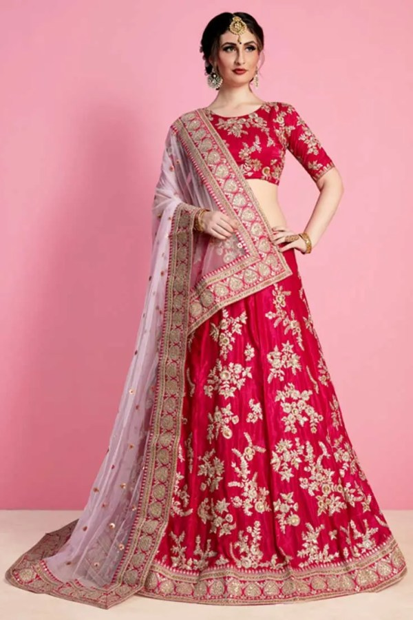 Beautiful Pink Color Velvet Silk Wedding Wear Lehenga-810