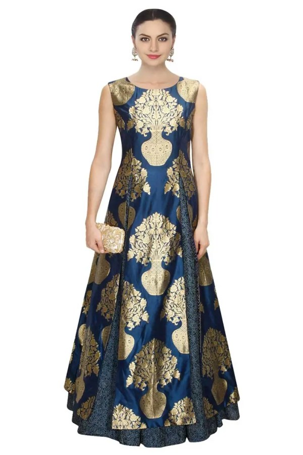 Stylish Navy blue designer printed gown with lehenga-287