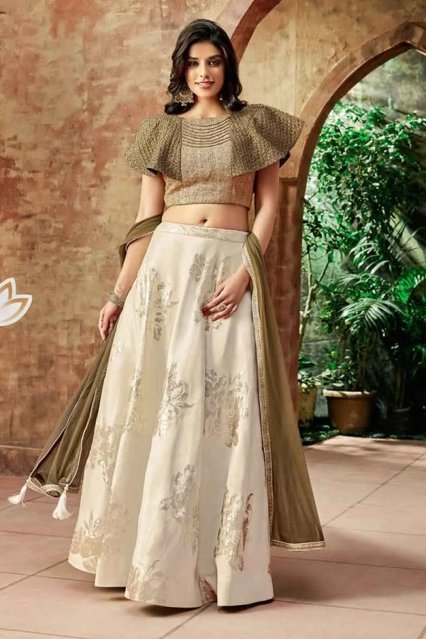 Beautiful Cream Color Zari Work Jacquard Silk Lehenga-7714