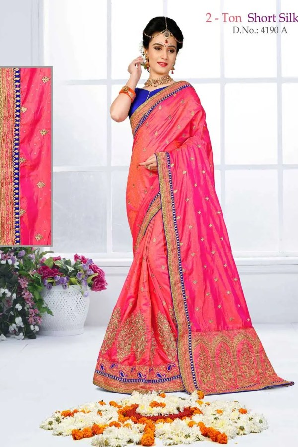 Amazing Orange Color Heavy Work Two Tone Short Jacquard Silk Saree-4190-A