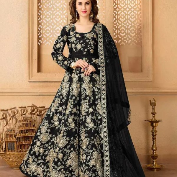 Black Color Heavy Embroidery Taffeta Silk Floor Length Anarkali Suit-24001