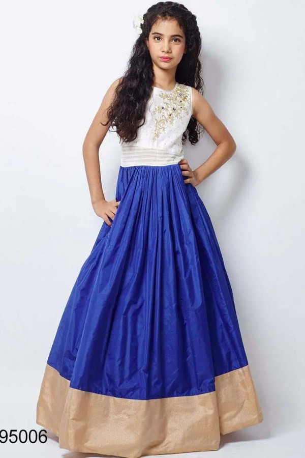Blue And White Color Taffeta Silk Party Wear Kids Frock-95006