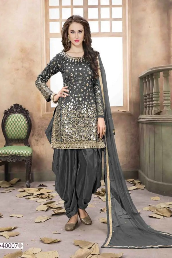 Grey Color Mirror Work Taffeta Silk Punjabi Party Wear Suit-40007