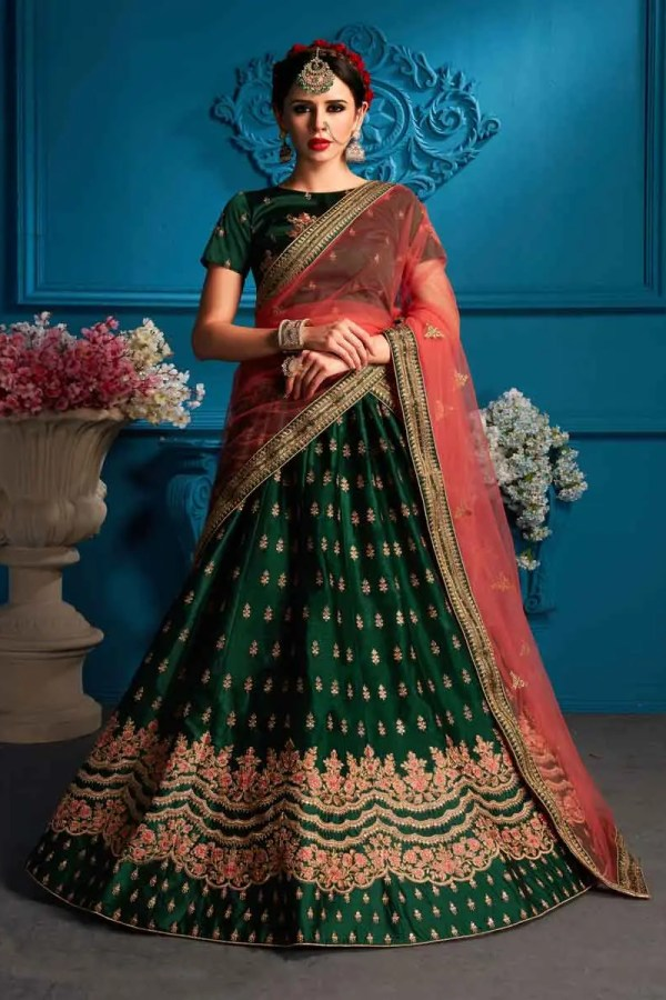 Green Color Embroidery Satin Lehenga Choli-1706