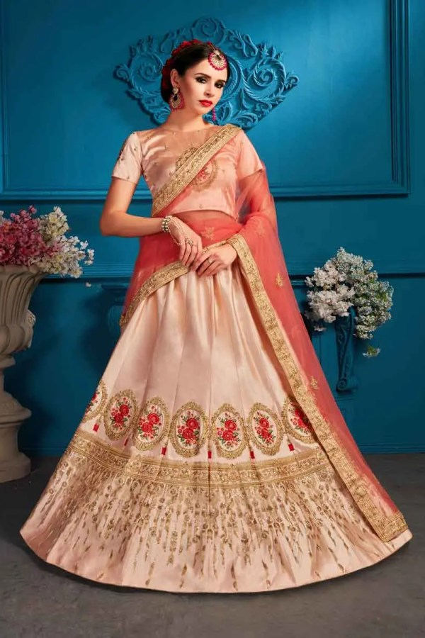 Peach Color Satin Embroidery Lehenga Choli-1710