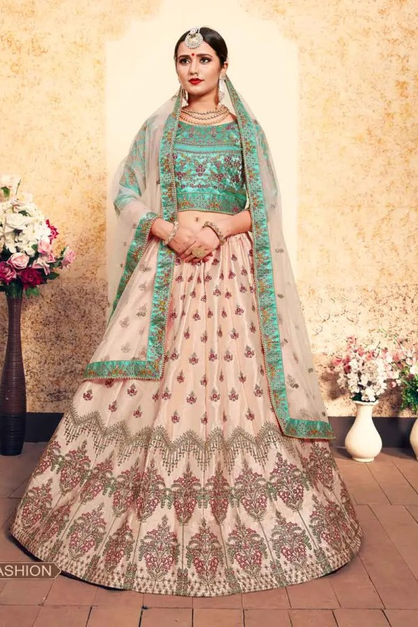 Peach Color Stone Work Satin Lehenga Choli