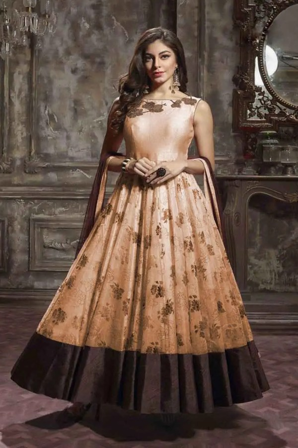 Peach Color Anarkali Gown