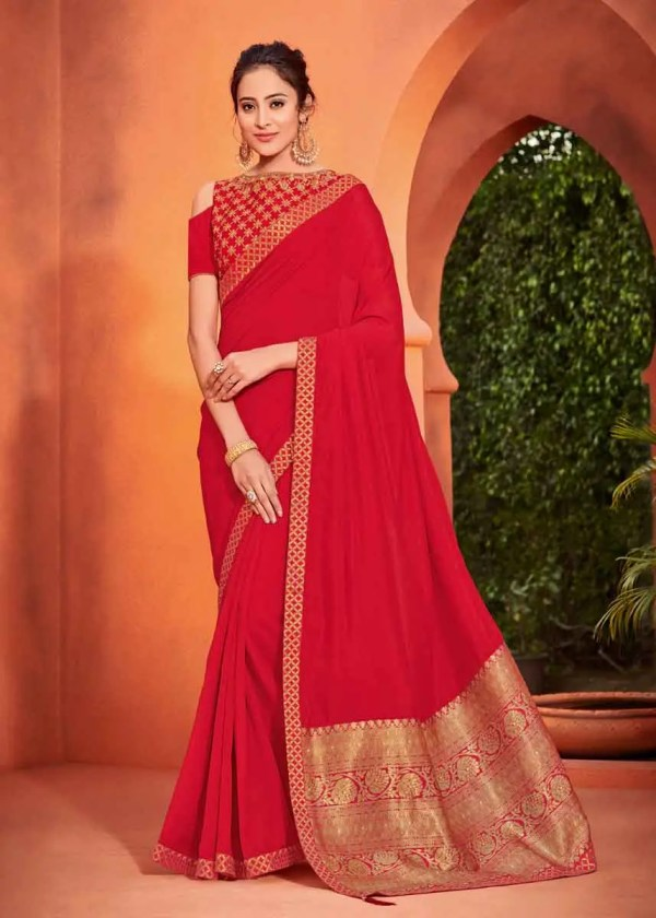 red silk saree with golden border