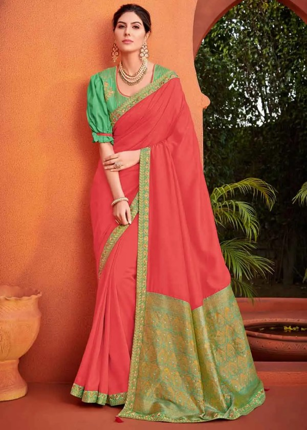 Orange Saree With Green Blouse