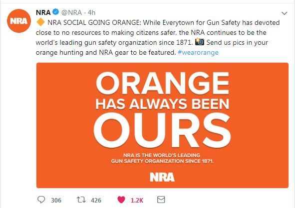 screen capture of a Tweet from the NRA