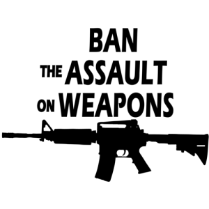 "Meme that says, ""Ban the assault on weapons"" with an image of an AR-15"