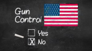 "NRA image of an American flag on a chalkboard and the words, ""Gun Control No"""
