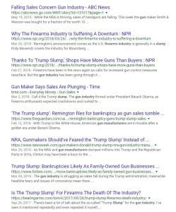 "Screen shot of google results when you type ""gun sale slump"""