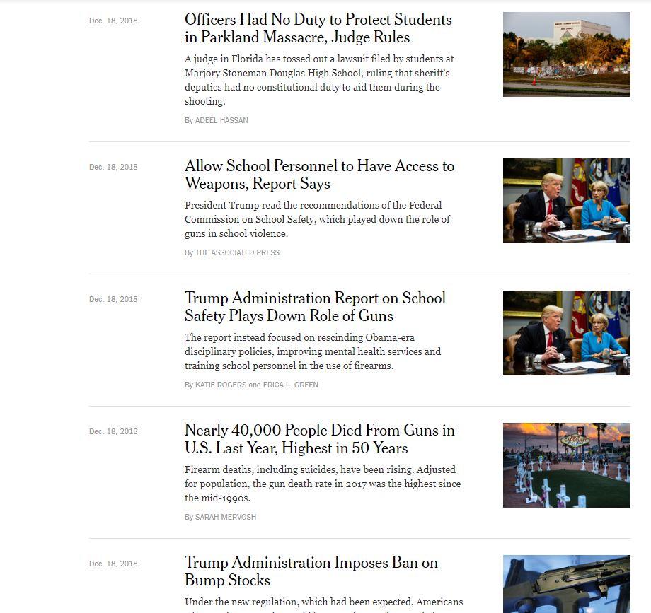 The New York Times gun news headlines