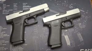 The new GLOCK 48 was mentioned by Sootch00 before its embargo date and is a 9mm pistol with a silver color finished slide.