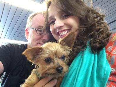 Stevenson with her husband and dog Mocha. Photo courtesy of Miriam Stevenson.