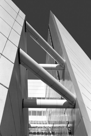 Detail of building looking up. 4x5 Black & White Film