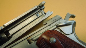 Colt 70 Series. Note Absence of Hammer Bock on Right Side of Slide