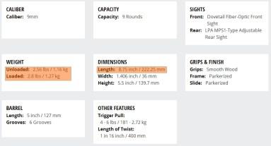 Rock Island (Armscor) 1911 FS Standard 9mm Specifications